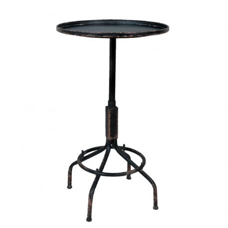 Metalowy stolik posiadający okrągły blat
