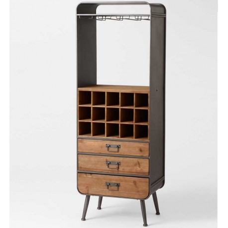 drewniano metalowy regał z szufladami i półkami