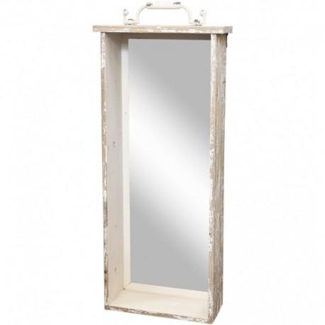 Prostokatne lustro z szeroką ramą dzięki której mamy półkę, a u góry widoczny jest delikatny dekor