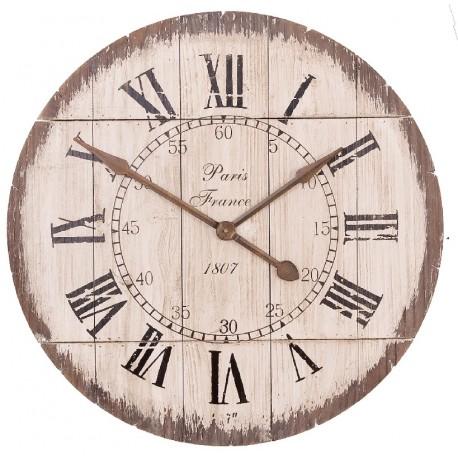 drewniany zegar z rzymskimi cyframi