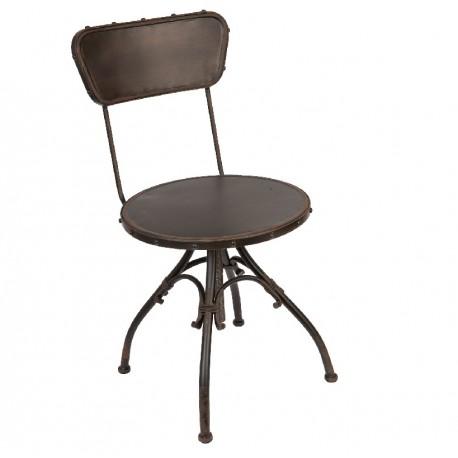Krzesło wykonane z ciemnego metalu