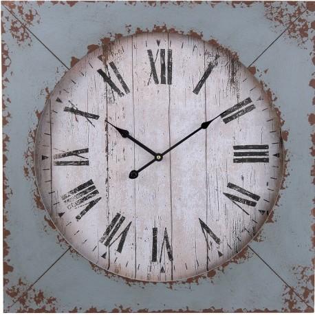 Zegar z białą tarczą ozdobiony kwadratową tarczą w niebieskim kolorze