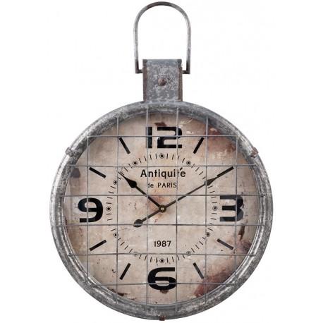 Industrialny zegar z metalową kratką i dekoracyjnym uchwytem ma jasnoszary kolor i jest okrągły.