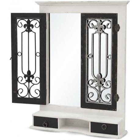 Ozdobne lustro w biało czarnej kolorystyce posiadające półeczkę, szufladki i okiennice