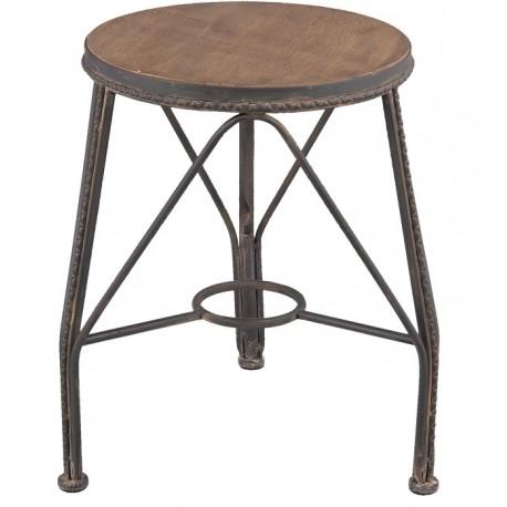 Okrągły stołek industrialny ma drewniane siedzisko i stabilne podparcie. Idealny pomocnik do Twojej industrialnej kuchni.