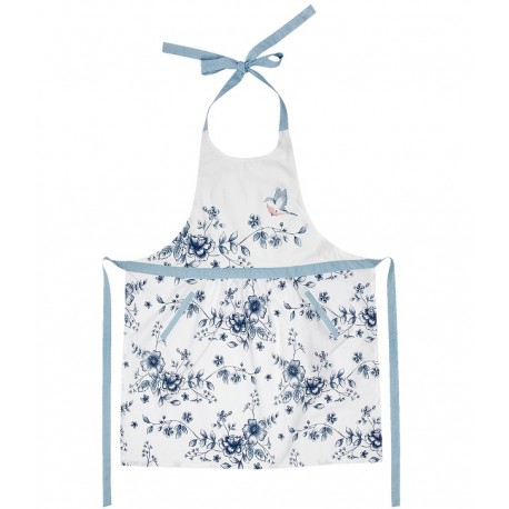 Fartuszek w stylu prowansalskim od Clayre&Eef uszyty z bawełny z oryginanym wzorkiemw w niebieskie kwiatuszki.