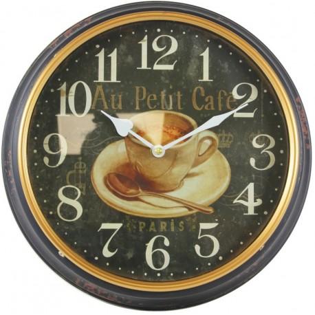 Czarno - złoty zegar ozdobiony grafiką filiżanki kawy