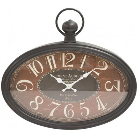Owalny zegar w stylu retro ma uchwyt pośrodku górnej krawędzi i czarną ramę.
