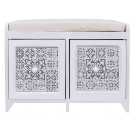 Oryginalna komoda w białym kolorze posiadająca siedziskio oraz dwie szufladki z ozdobnymi frontami