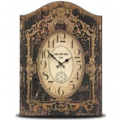 Postarzany zegar w stylu retro posiadający ciemno, żołty kolor