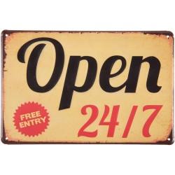 Tabliczka Metalowa Vintage Open