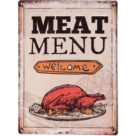 Jasna tabliczka wykonana z metalu posiadajaca napisy i grafikę kurczaka