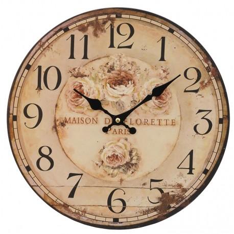 Postarzany zegar w pożółkłym kolorze z różami