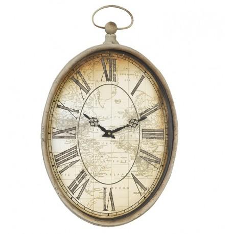 Owalny zegar w stylu retro którego tarcza ozdobiona została grafika mapy