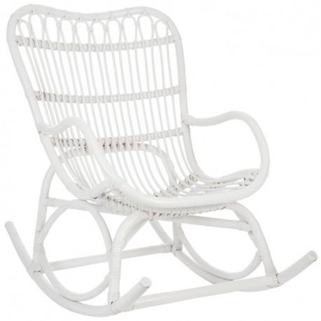 Szykowny i solidny fotel bujany w ażurowym splocie ma biały kolor i wygodne oparcie.