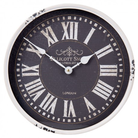 Zegar retro z czarnym cyferblatem i białą, postarzaną ramą z metalu.