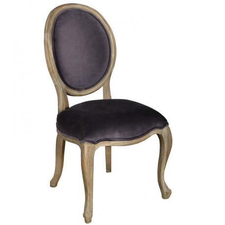 Dębowe krzesło z ciemnym obiciem