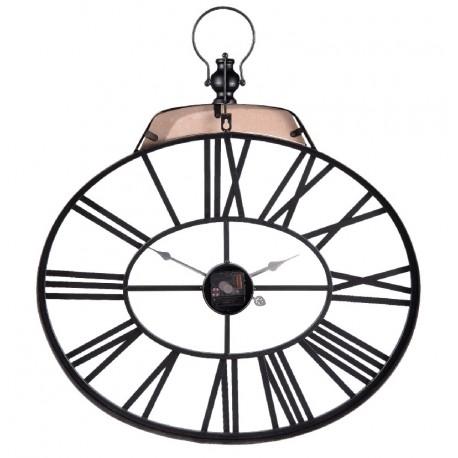 Ażurowy zegar ścienny wykonany z metalu i zaopatrzony w drewniany uchwyt to propozycja nie do odrzucenia dla wszystkich, którzy szukają zegara do wnętrza industrialnego.