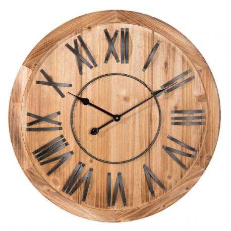 prosto wykonany, drewniany zegar w brązowym kolorze ozdobiony rzymskimi cyframi