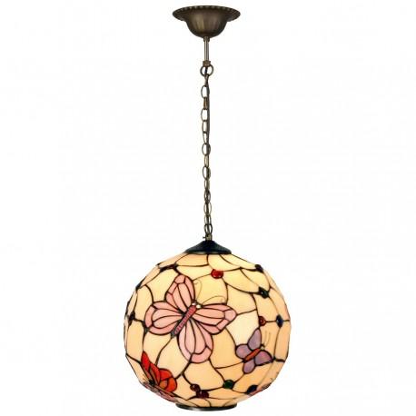 Kolorowa lampa prowansalska z kolekcji Tiffany z kolorowymi szkiełkami przypominającymi witraż.