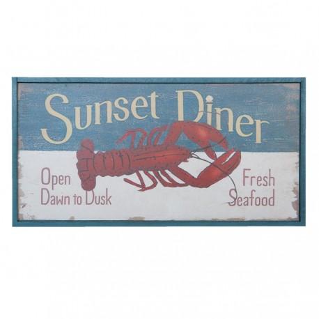 Obrazek w stylu marynistycznym w postarzanej ramie przedstawia czerwonego skorupiaka - homara.