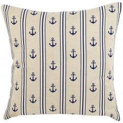 Poduszka Marynistyczna z Kotwicami i Paskami Beżowa