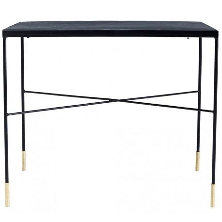 Stylowy, czarny stolik industrialny na smukłych, ale zapewniających niezwykle solidne oparcie nogach ze złotym zakończeniem.