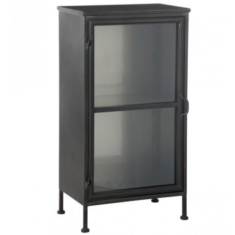 Niewielka, ale bardzo oryginalna szafka w kolorze czarnym z przeszklonymi drzwiami.