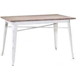 Metalowe Krzesło Industrialne Lofti Białe Przecierane