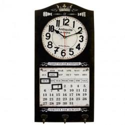 Zegar Retro z Kalendarzem i Wieszakami