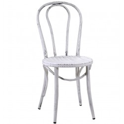Metalowe Krzesło Industrialne Lofti Białe Przecierane B
