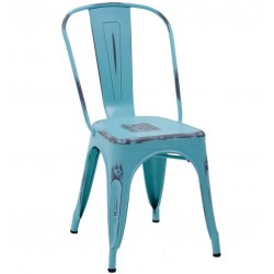 Metalowe Krzesło Industrialne Lofti Błękitne