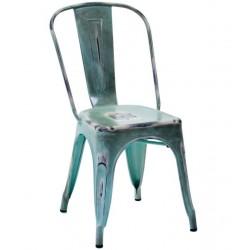 Metalowe Krzesło Industrialne Lofti Błękitne Przecierane