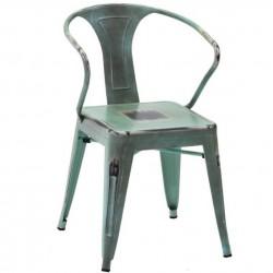 Metalowe Krzesło Industrialne Lofti Błękitne Przecierane A