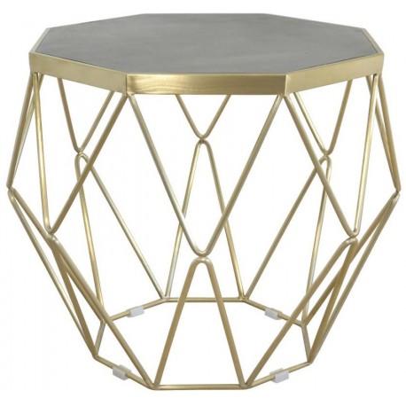 Ten stolik kawowy ze złotą podstawą, którą wykoanno z metalu ma geomoteryczny, szklany blat. Idealny do salonu.