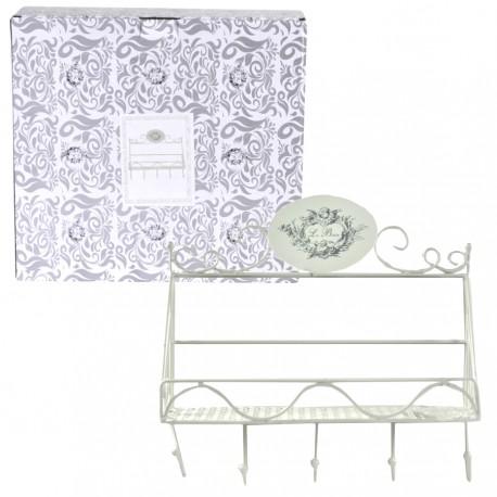 Półka łazienkowa Le Bain z wieszaczkami na ręczniki to polecany dodatek do łazienek francuskich i nie tylko.