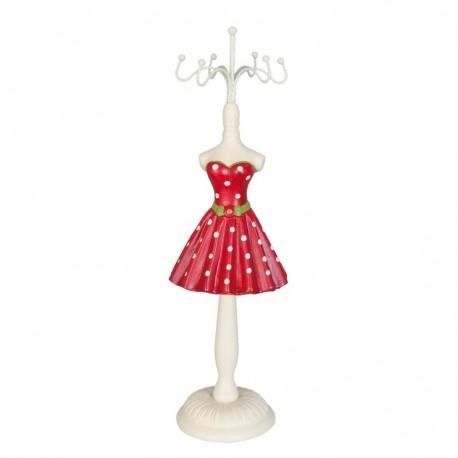 Czerwono-biały stojak na biżuterię w stylu prowansalskim to ciekawa dekoracja dosokonale sprawdzająca się na damskiej toaletce.