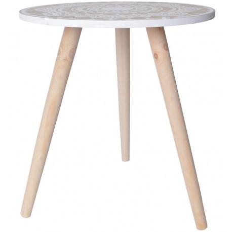 Biało-brązowy stolik  stylu retro, który na okrągłym blacie posiada unikatowe wzorki.