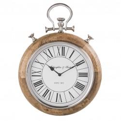 Drewniany Zegar z Niklowanym Rantem B