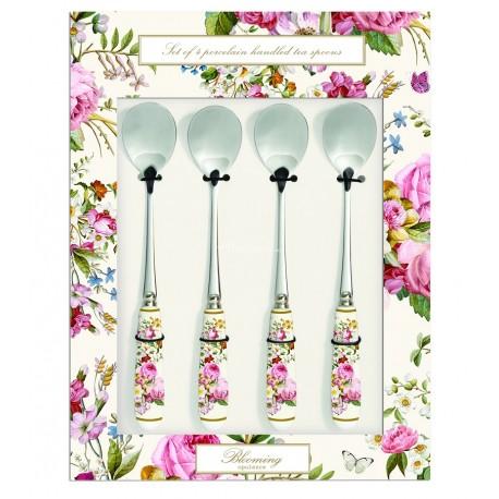 Zestaw łyżeczek prowansalskich do deserów, które zapakowano w ozdobne pudełko w kolorowe kwiaty.