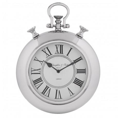 Okrągły zegarek w srebrnej ramie z białą tarczą na której widoczne są rzymskie cyfry.