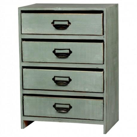 Oryginalna, zielona szafeczka z szufladkami z metalowycmi uchwytami. Doskonała na biurko.