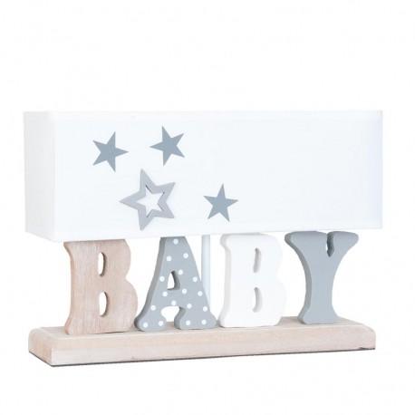 Podłużna lampka dziecięca z białym abażurem na stabilnej podstawie jest ozdobiona kolorowym i wzorzystym napisem