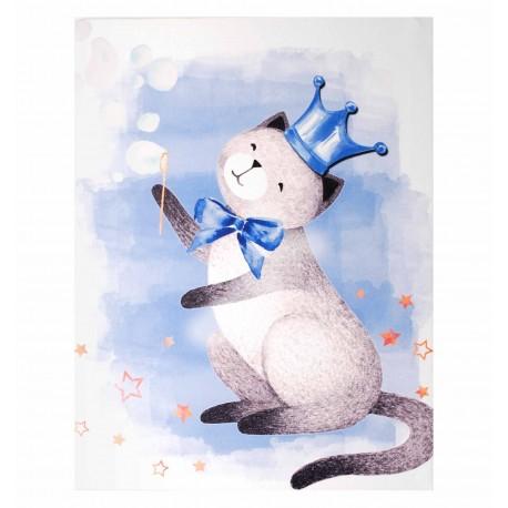 Kolorowy obrazek z kotem doskonały do pokoju dziecięcego chłopca i dziewczynki. Świetnie skomponuje się z innymi dodatkami prowansalskimi.