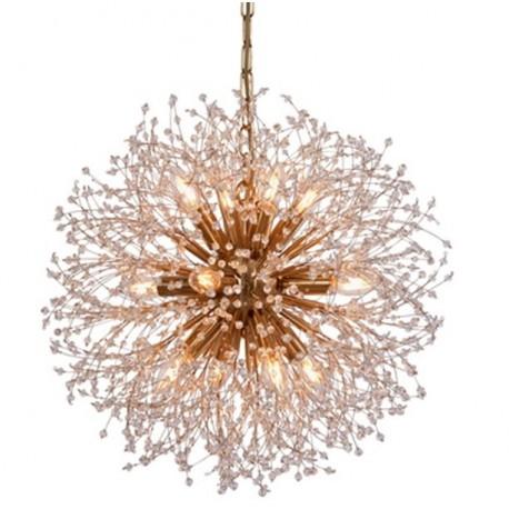 Duży, efektowny i piękny żyrandol w stylu Glamour w kształcie kuli z dużą ilością drobnych ramion.