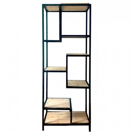 Regał wykonany z czarnego metalu posiadający drewniane kwadratowe półki