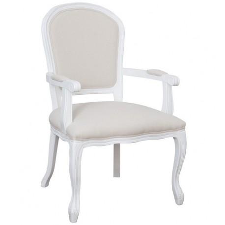 Stylowe krzesło w białym kolorze z wygodnymi podłokietnikami to mebel, w którym z pewnością zrelaksujesz się i odpoczniesz.