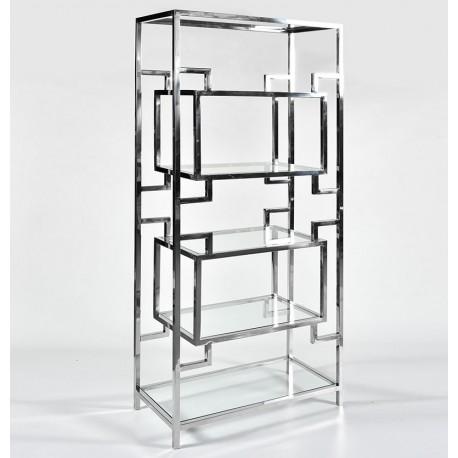 Mebel wykonany ze szkła i metalu z szklanymi półkami w różnej konfiguracji.