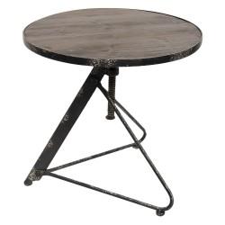 Stół Loftowy Okrągły Z Drewnianym Blatem
