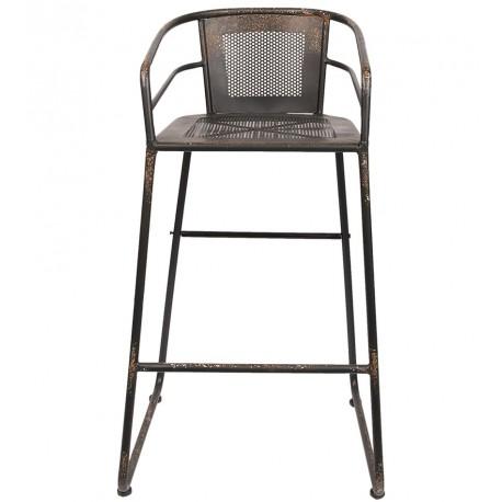 Postarzant stołek metalowy z ażurowym oparciem i siedziskiem upiększy swoją obecnością każde wnętrze w stylu industrialnym.